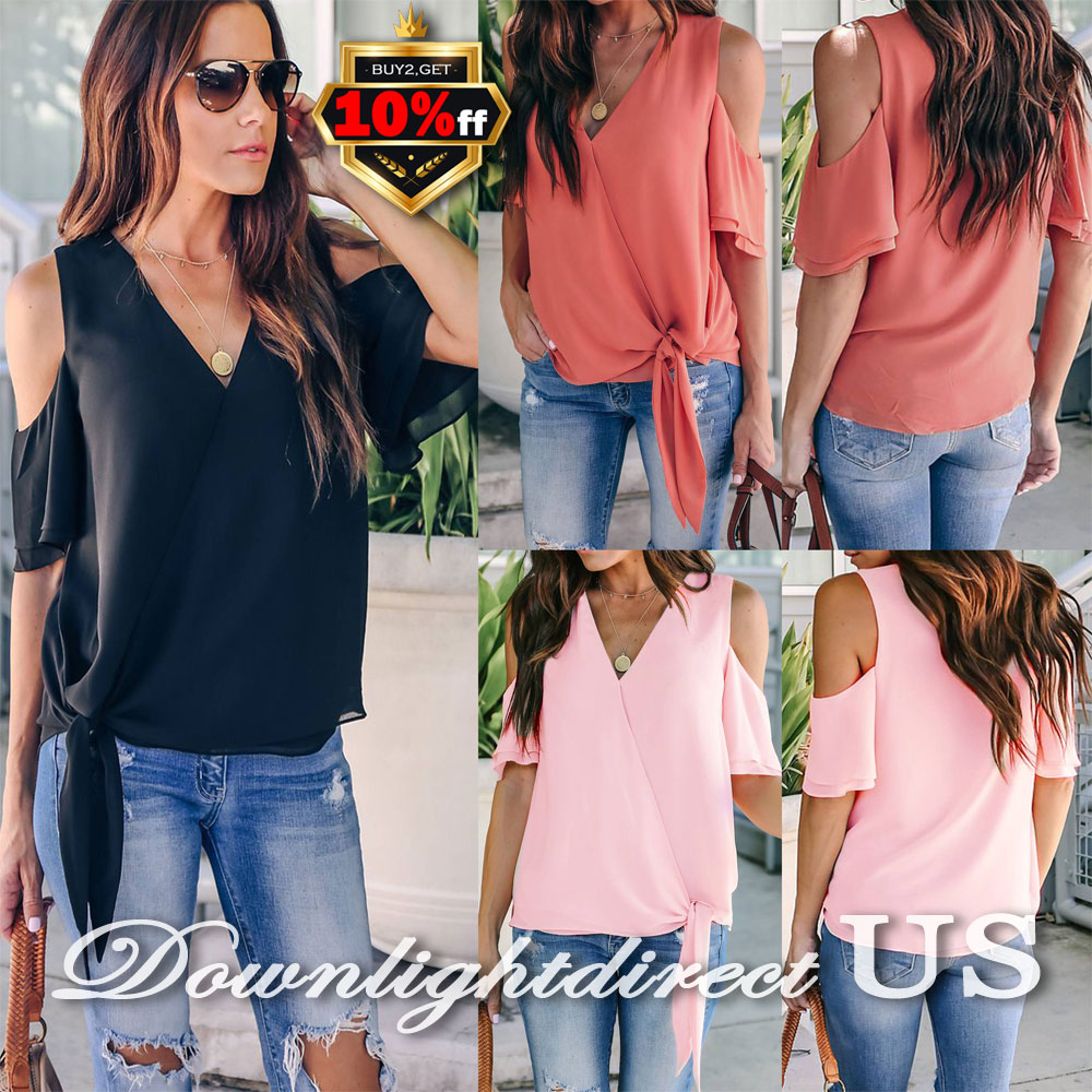 f8d3db21256070 US Women Ladies Holiday Chiffon Cold Shoulder V Neck Blouse Shirt ...