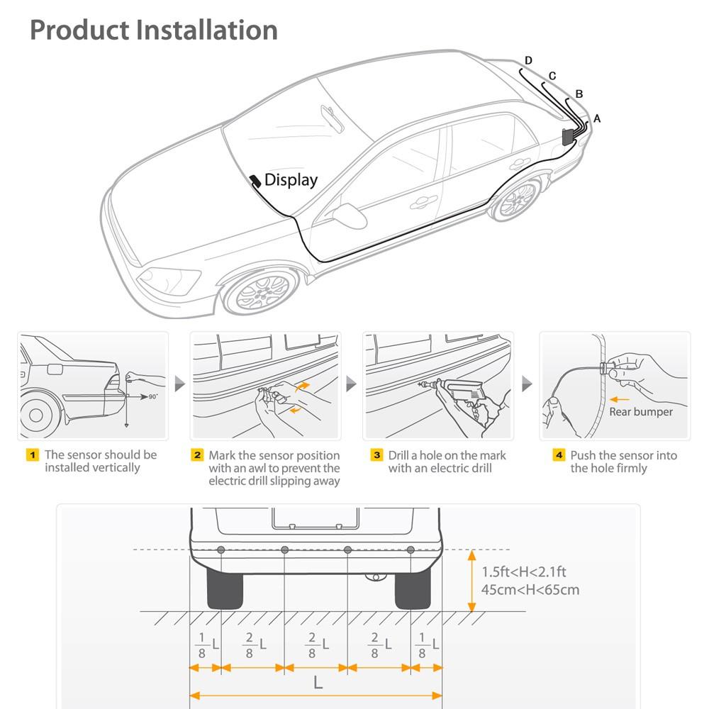silver reverse parking sensors kit 8 sensor car front rear