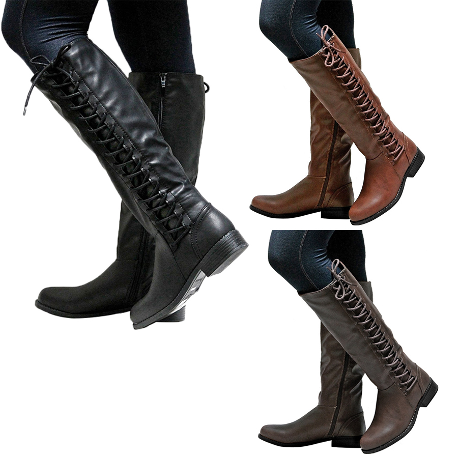 77423678977 New Women s Winter Leather Flat Knee High Boots Ladies Riding Biker ...