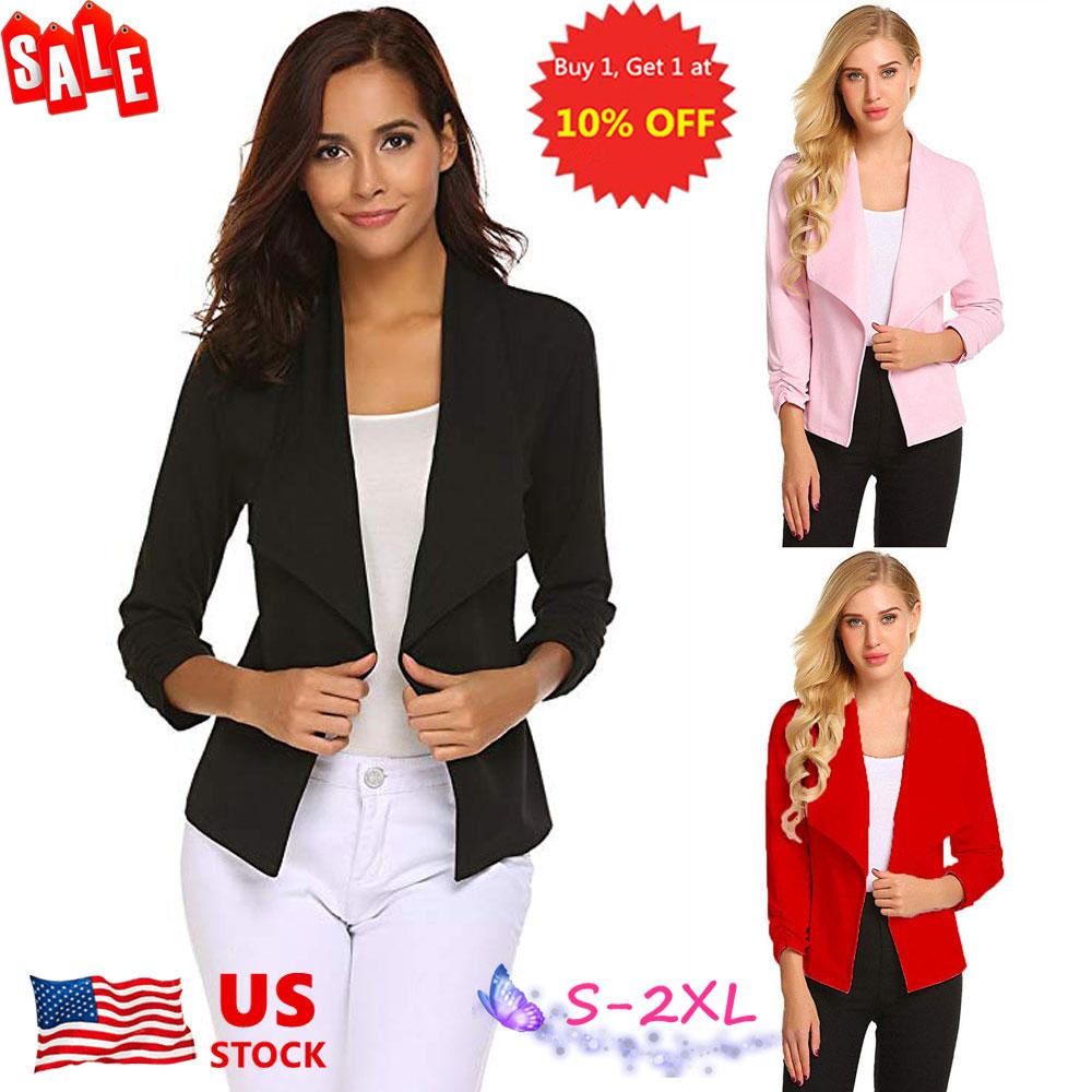 WNSY Women Long Sleeve Solid Zip Lapel Pocket Coat Short Jacket