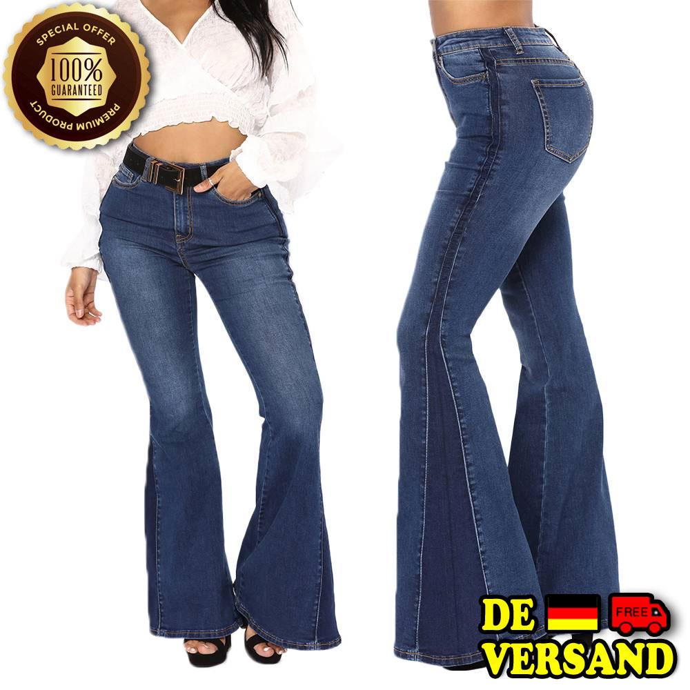 Bootcut Jeans Hose Schlag Hüftjeans Hohe Taille Stud Baggy ... 11f8394e31