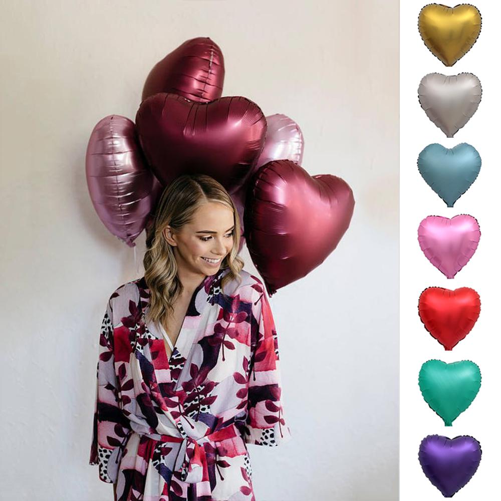 10-50X 18/'/' Matt Metallic Balloon Heart Shaped Foil Balloon Wedding Party Decor