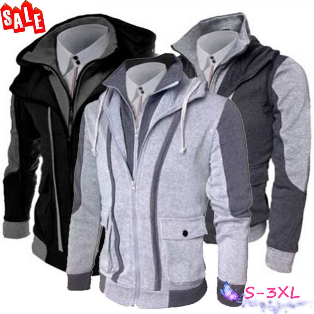 b72e96846ed4 Details about Mens Double Zipper Hoodie Jacket Sweatshirt Long Sleeve Hooded  Coat Outerwear US
