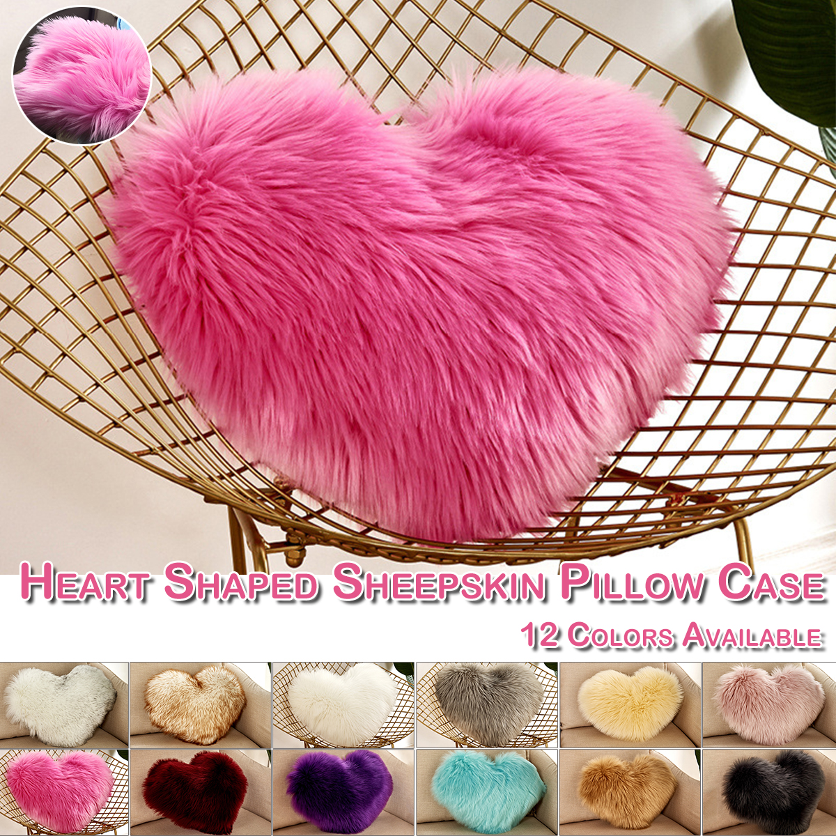 Fluffy Love Heart Shaped Pillow Chair