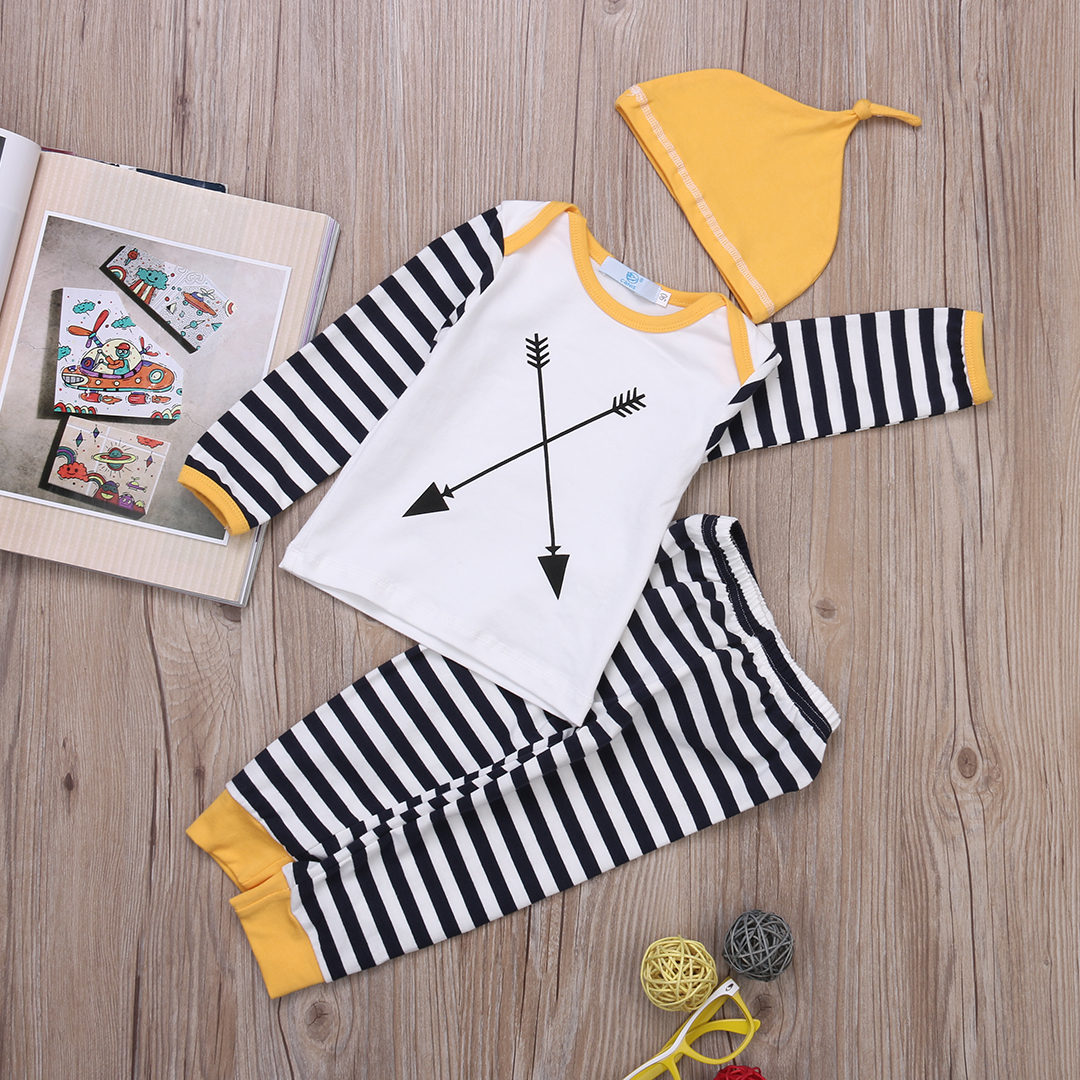 aa888845f583 Infant Newborn Baby Boy Girl Striped Long Sleeve Tops+Pants Hat ...