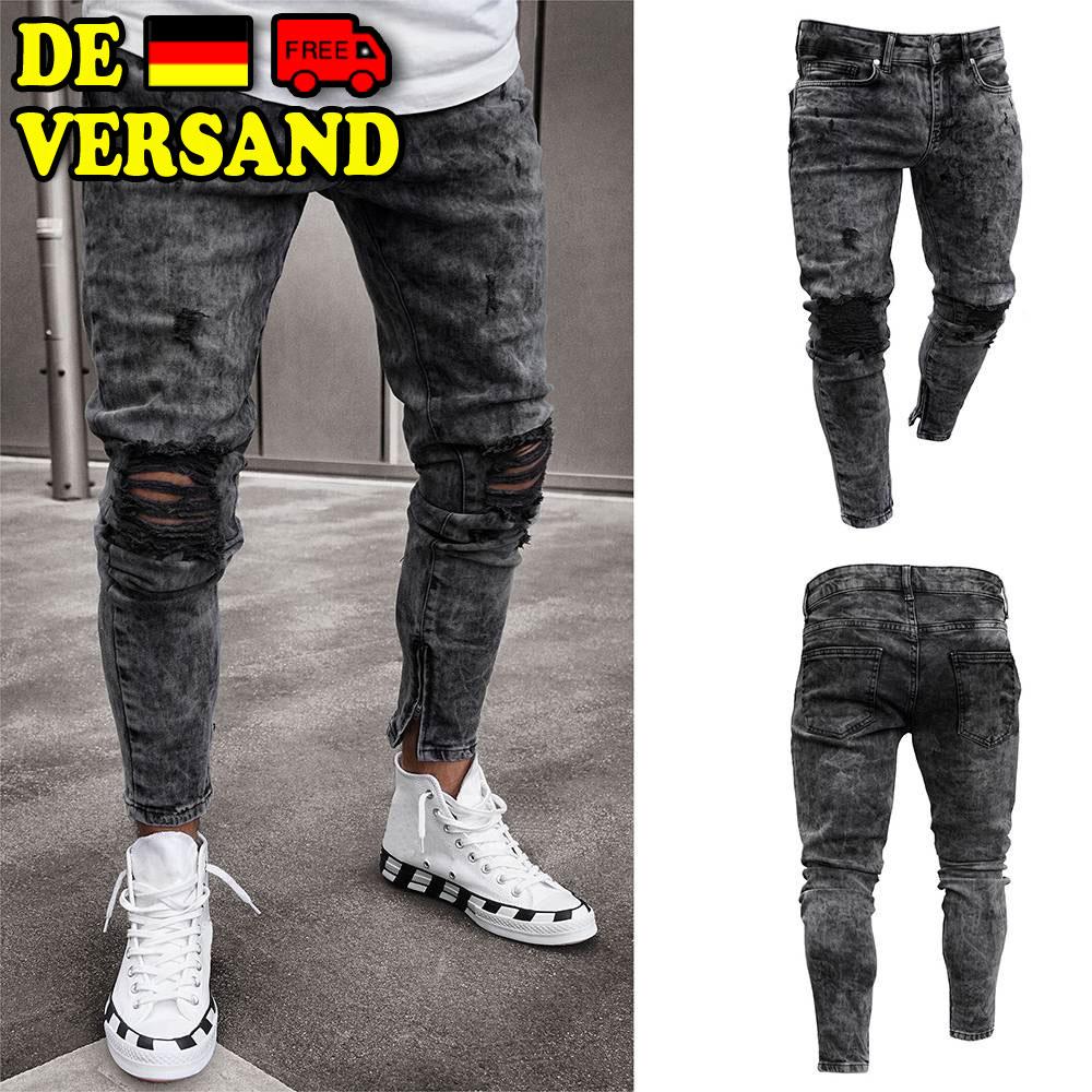 ad1ca56cfd0cf Details zu Herren Skinny Jeans Destroyed Ripped Biker Jeanshose Röhrenjeans  Denim Hosen DE
