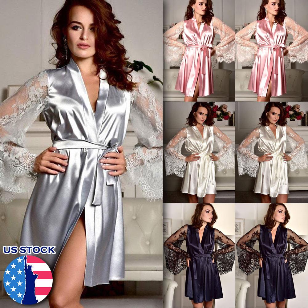 Silk Satin Lace Robe Sleepwear Babydoll Nightdress Pajamas Bridesmaid Bathrobe