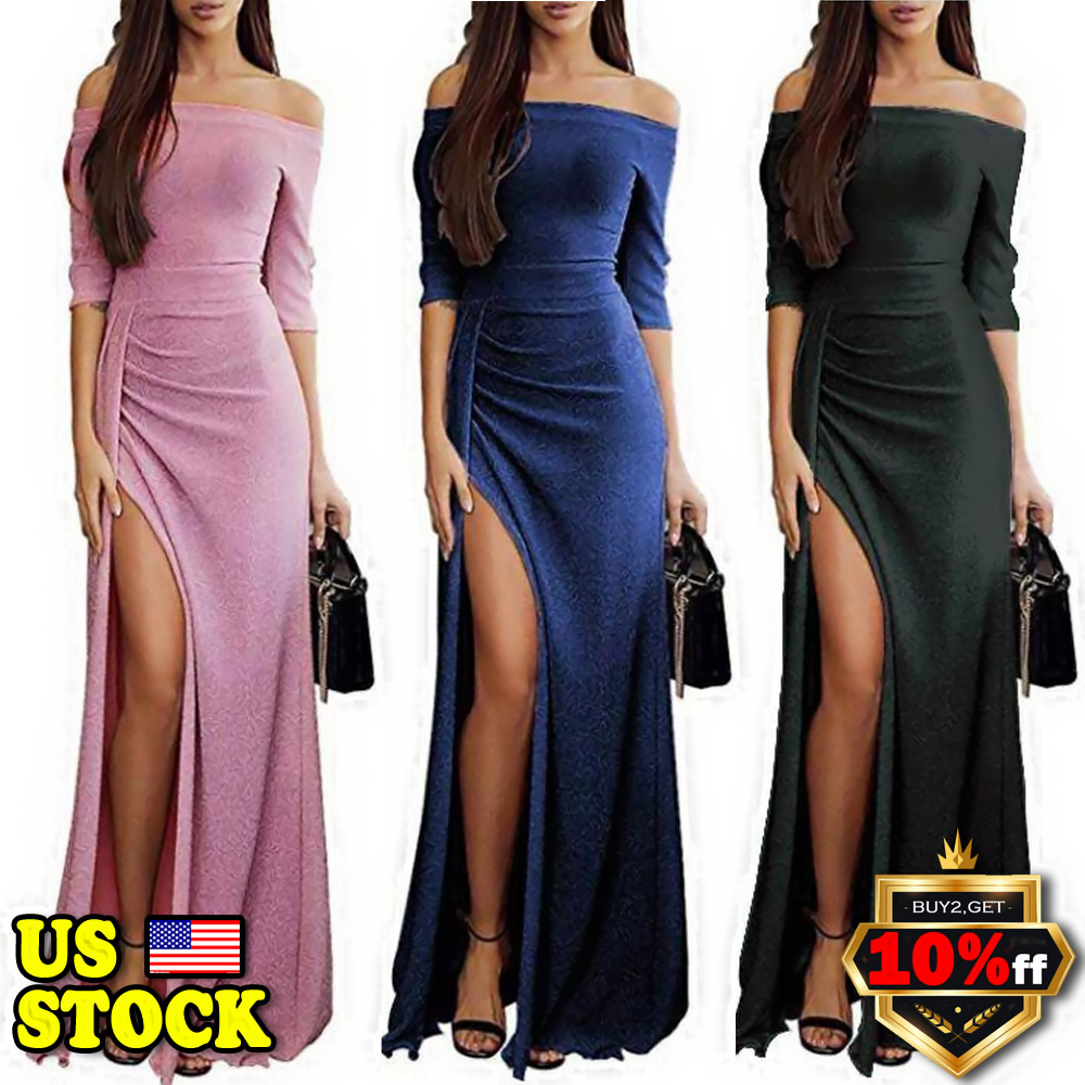 US Women Split Off Shoulder Evening Formal Party Ball Gown Prom ... bad6fa91333f