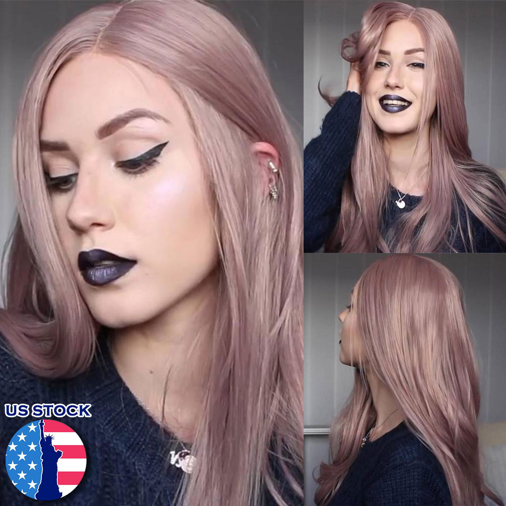 Details about Purple Lace Front Wig Long Wave Rose Glueless Cap Synthetic  Hair Headpiece Gift fe4d4657f