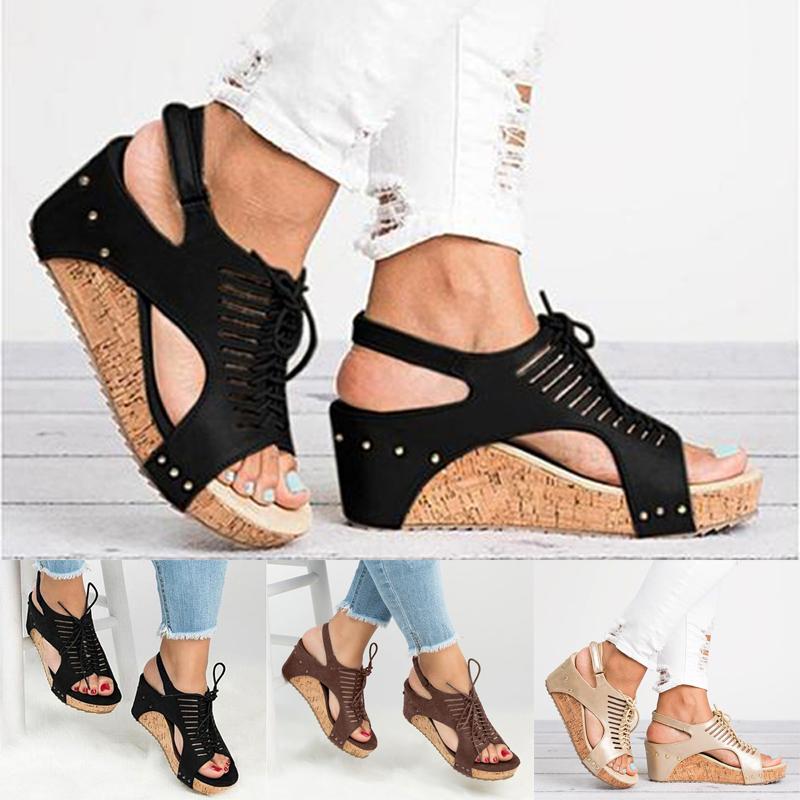 Damen Fischkopf Sandalen Flach Sommerschuhe Strandschuhe Sandaletten Damenschuhe