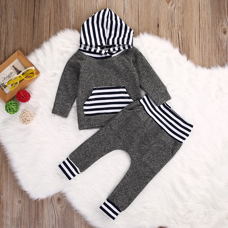 ff6e07cb248df Details about US Toddler Newborn Baby Boys Striped Hooded Tops+Long Pants  Outfits Clothes Sets