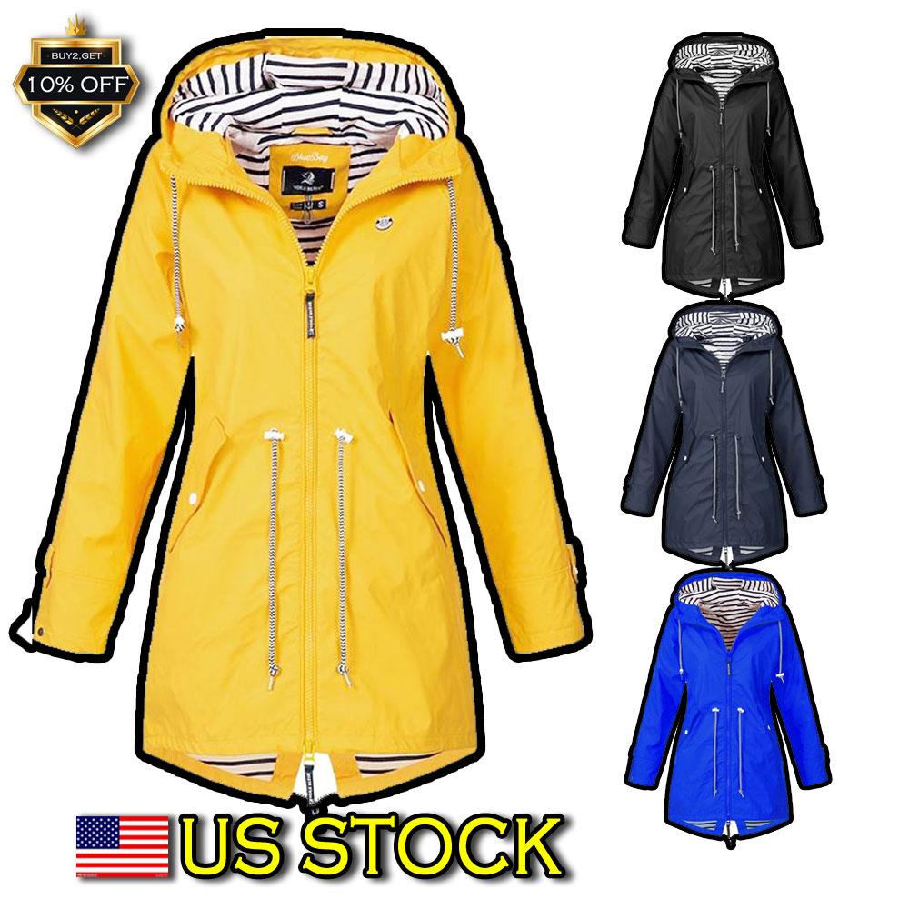 Women Casual Hooded Long Sleeve Outdoor Waterproof Raincoat Jacket Coat LFSZ