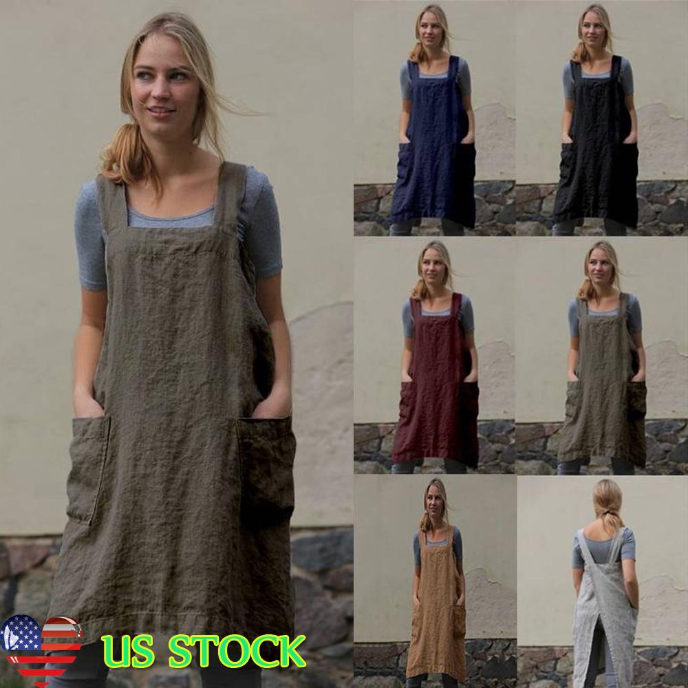 38782f5acd9 Details about Womens Cotton Linen Cross Back Apron Japanese Housework Wrap Pinafore  Dress 6-14