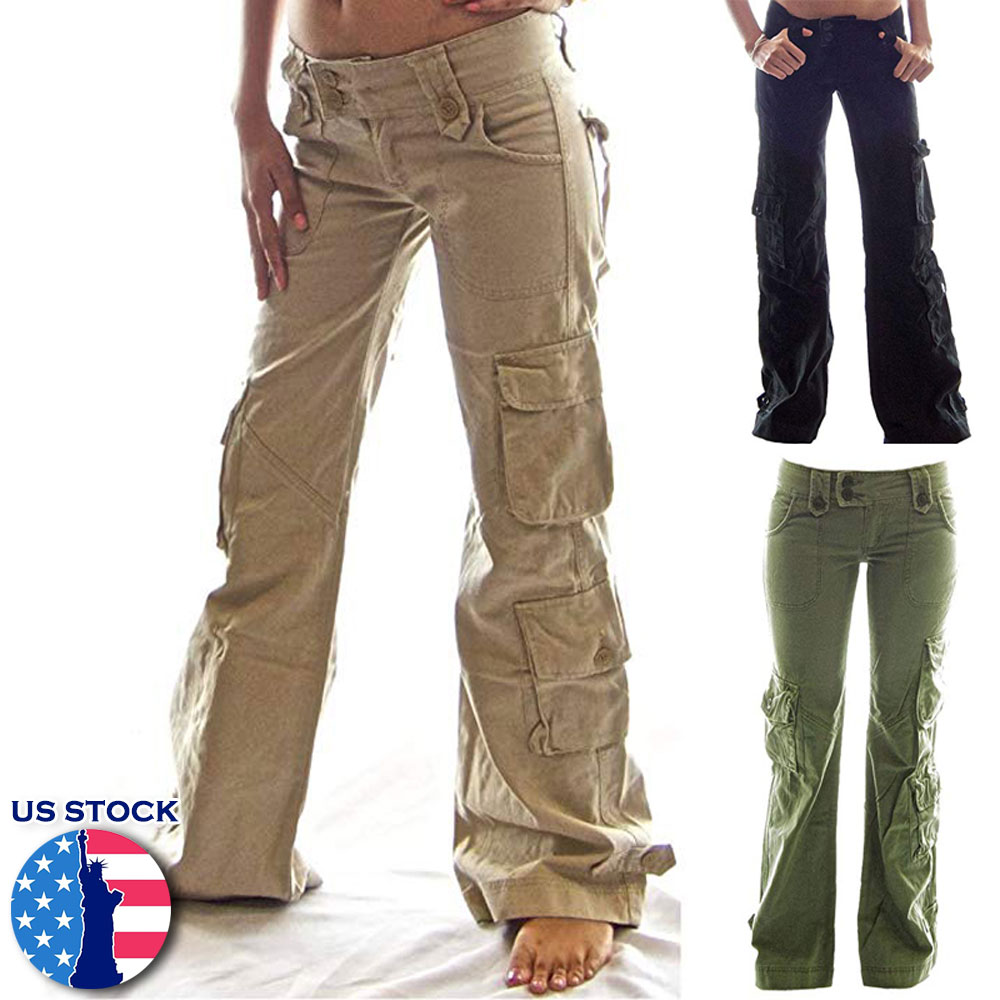 cheap 100% high quality favorable price Details about US Plus Size Women Casual Cargo Pants Loose Leg Combat Work  Wear Sports Trousers