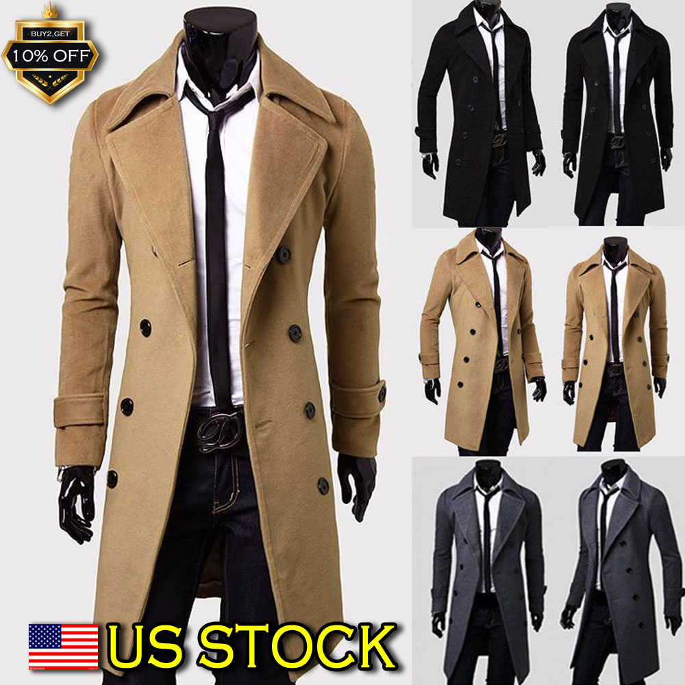 12f9f8b20 Details about Men's Double Breasted Trench Coat Winter Warm Long Jacket  Solid Overcoat Outwear