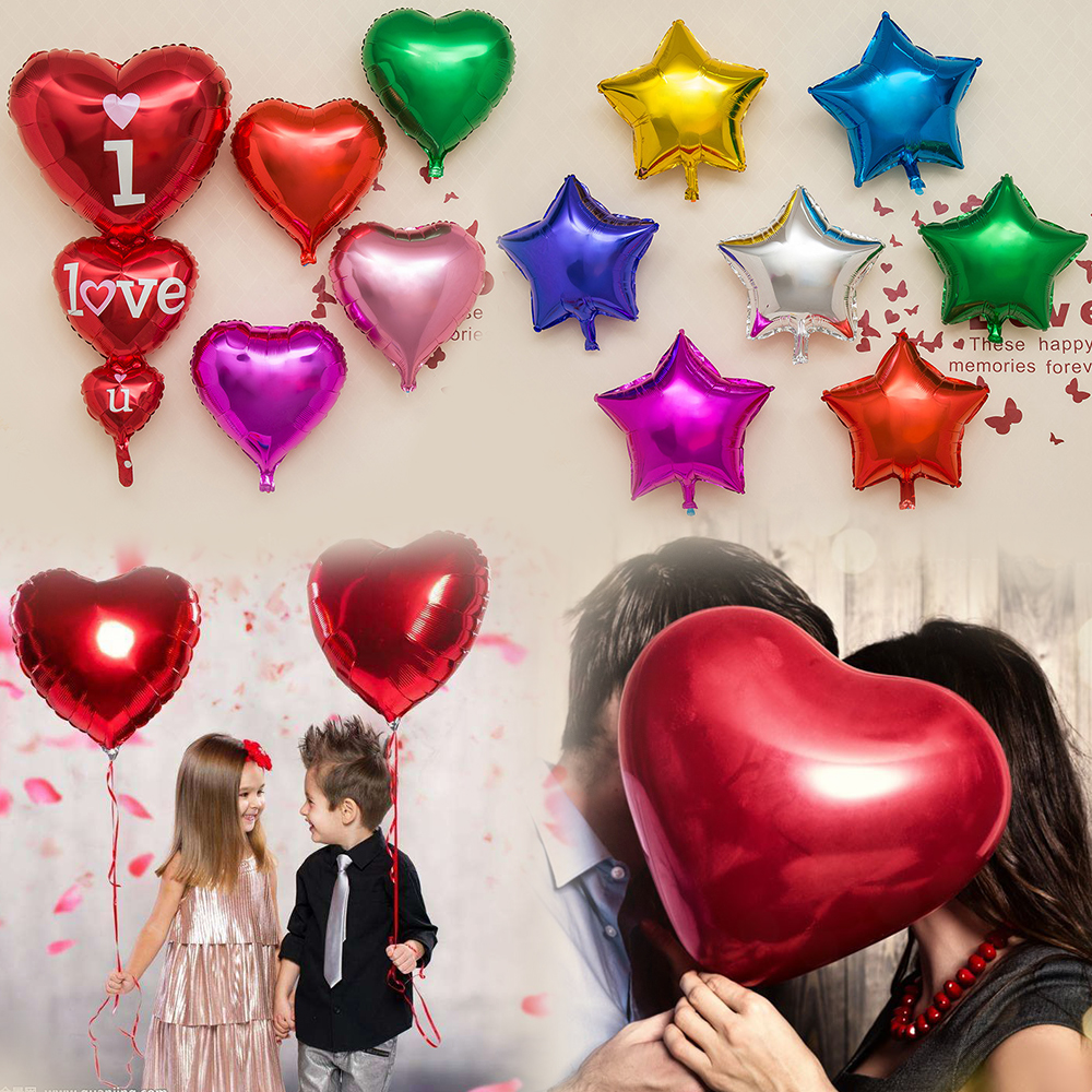1//5//10//20//50 Pcs Heart Star Foil Helium Balloons Wedding Birthday Party Decor UK
