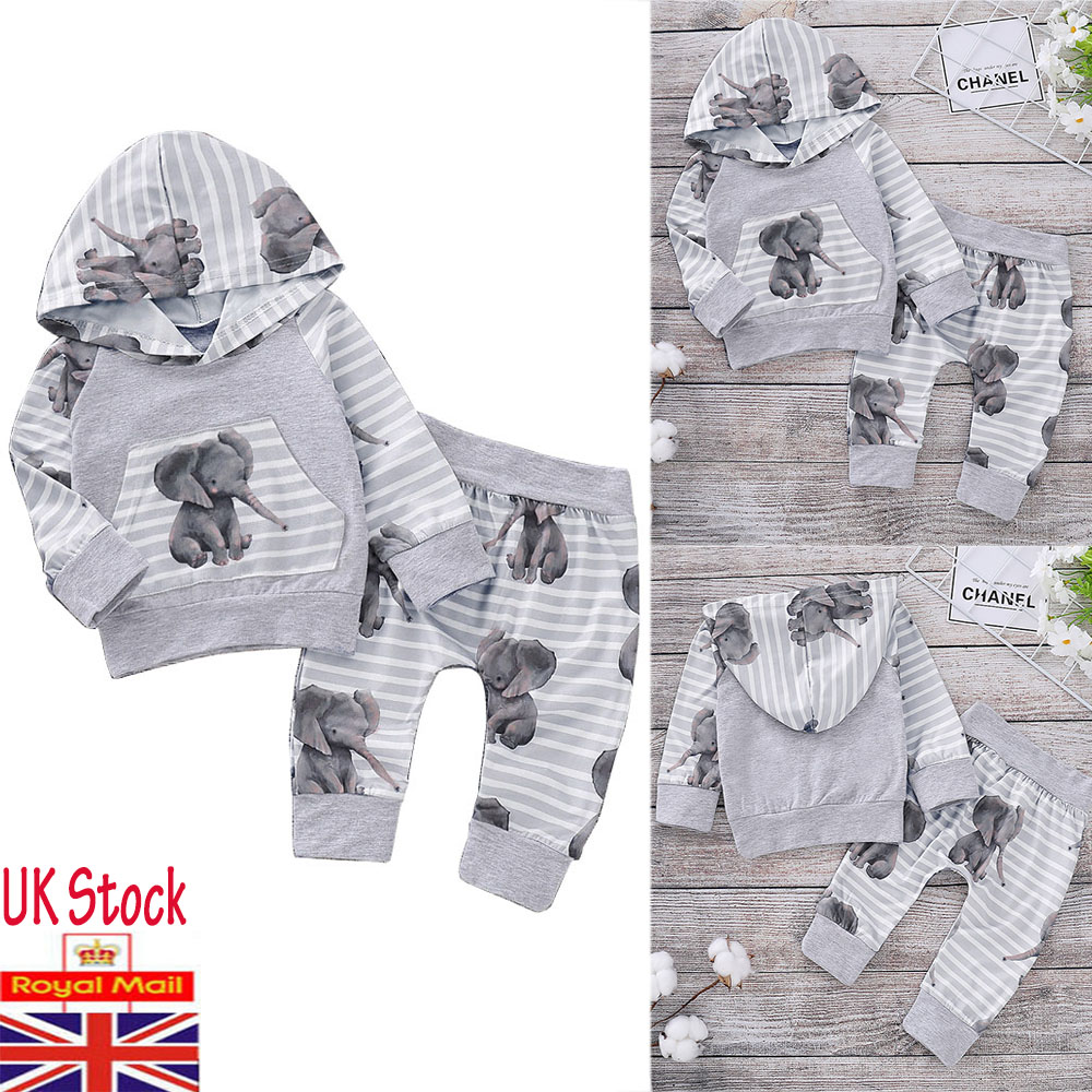 4a1feec14004 Newborn Baby Girls Boy Hooded Tops Pants Tracksuit Trousers Outfits ...