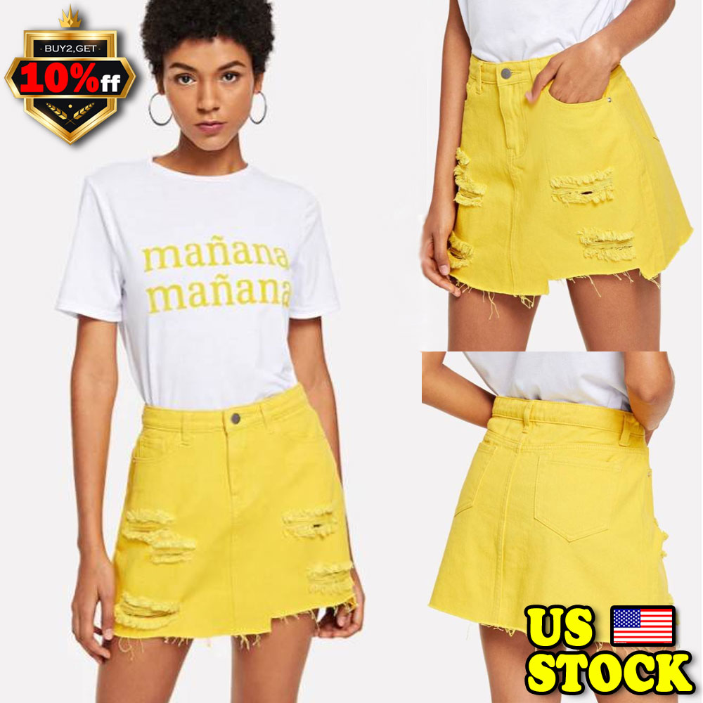 fc8e1377b78 Details about Women High Waist Denim Skirt Mini Ripped Bodycon Fit Short  Jean Skirt Dresses US