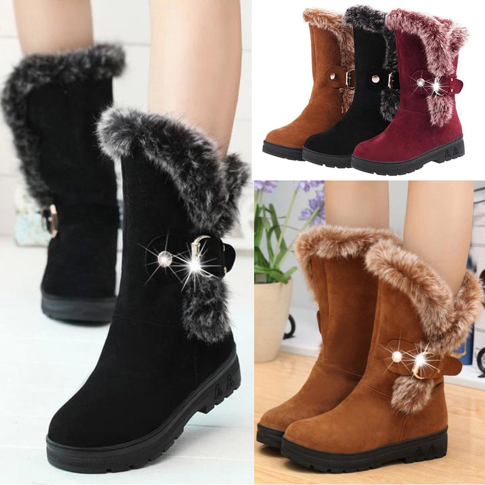 55e2fd266 Details about LADIES GIRLS FLAT KNEE HIGH BUCKLED FUR LINED WINTER WOMENS  WARM SNOW BOOTS