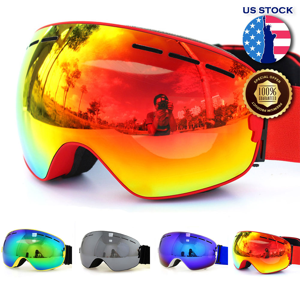7f281019029 Men Women Snowboard Goggles Double Layers UV400 Anti-fog Big ski ...