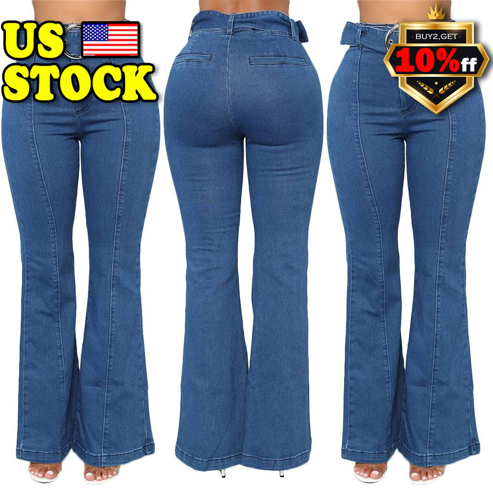7aa5c1d434 Details about US Women's High Rise Kick Flare Jeans Ladies Bootcut Faded  Coloured Denim Jeans