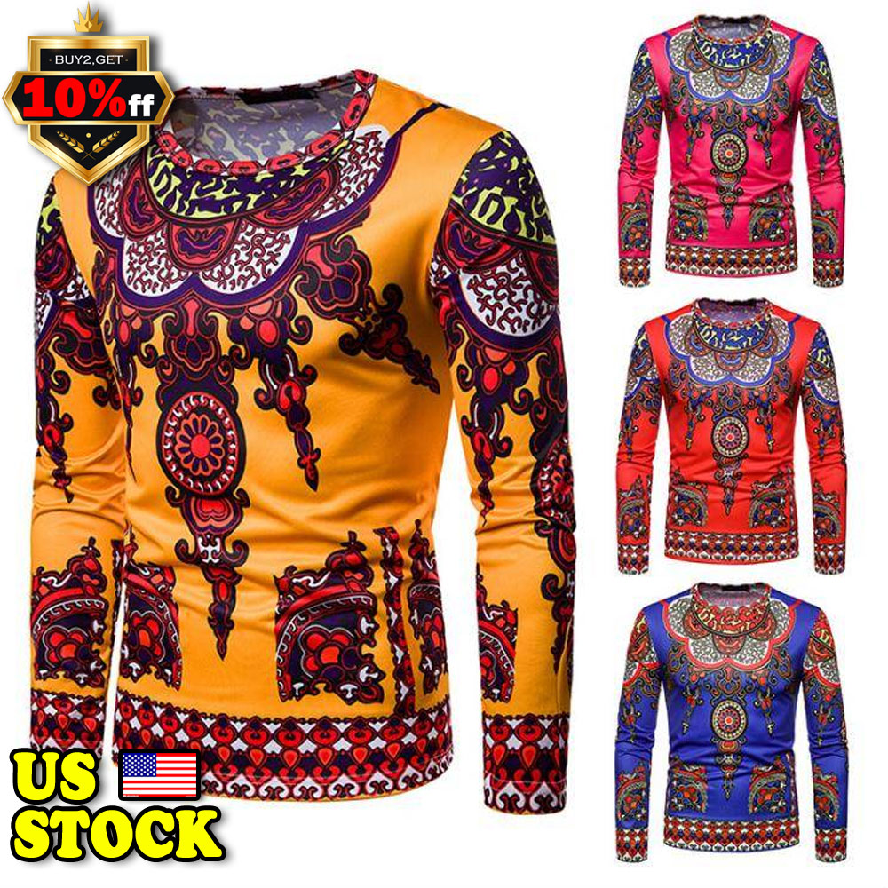 Details about Men s African Clothing Dashiki Style Printing Tops Mexican  Hippie Tribal T-shirt 332d75a1e