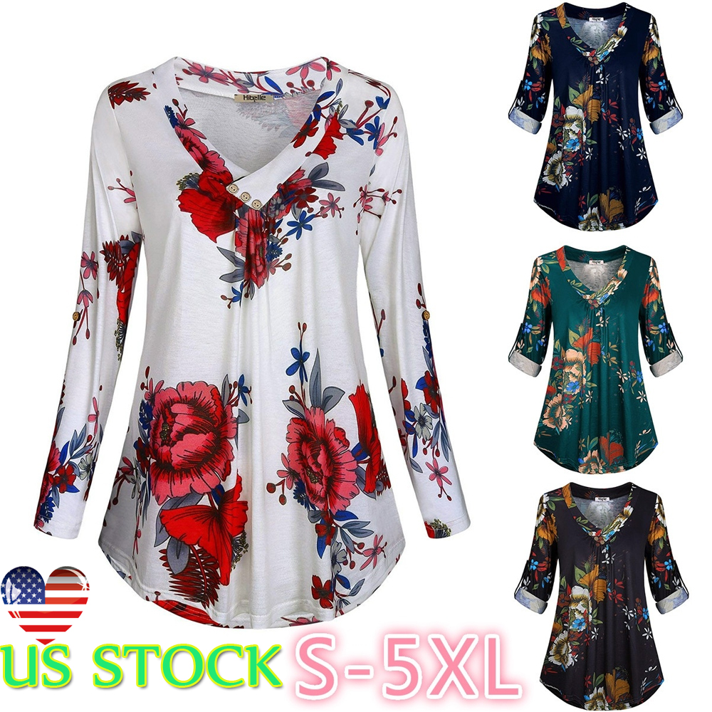 8ef60155ef8334 Details about Womens Floral Print V-neck Long-sleeve T-shirt V Neck Tunic  Pleated New Tops Tee