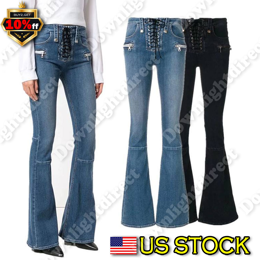 978cad7cc750be Details about Women's Vintage High Waist Flared Bell Bottom Jeans Trendy  Hippy Denim 70s Pants