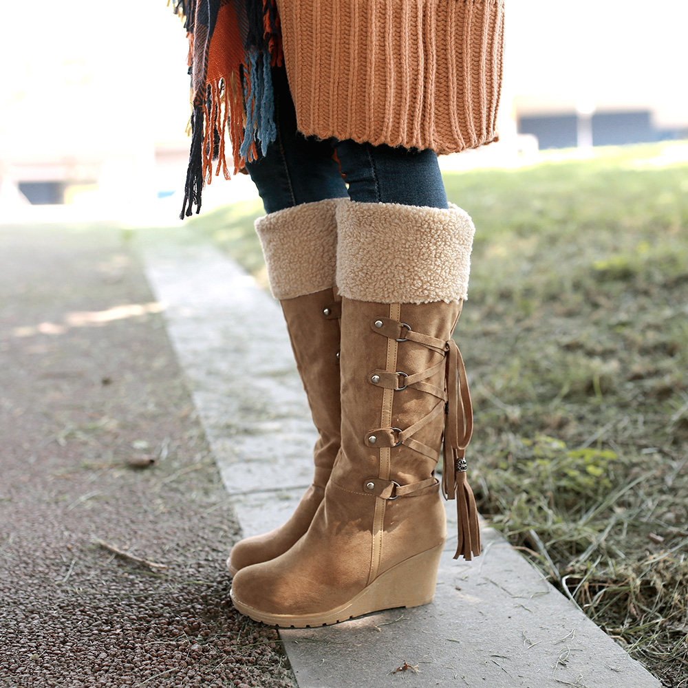 bb0c28693 Women's Faux Suede Fur Warm Wedge Heel Lace Up Knee High Boot Winter Shoes  US | eBay