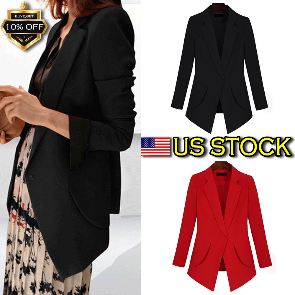 Womens Blazer Ladies Frill Ruffle 3//4 Long Line Sleeve Stylis Duster Coat Jacket