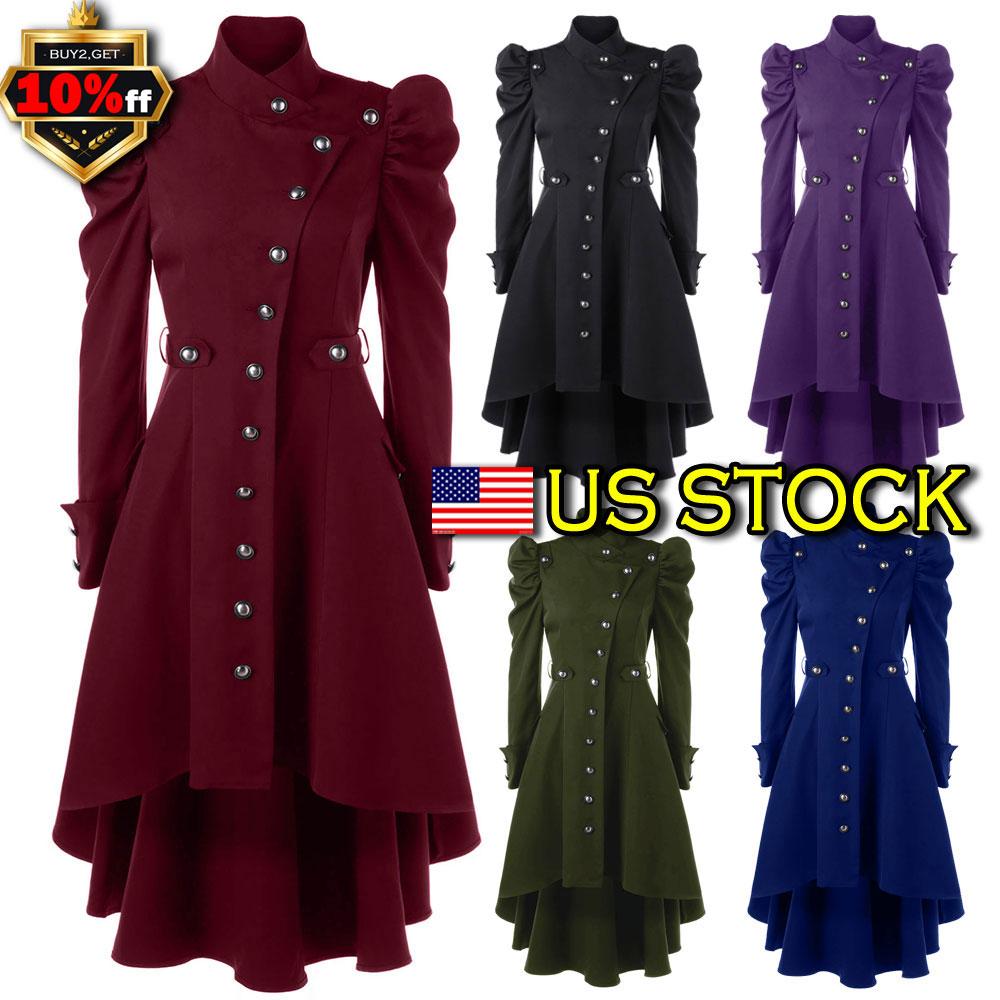 Vintage Steampunk Coat Women Gothic Victorian Overcoat Retro Long ...