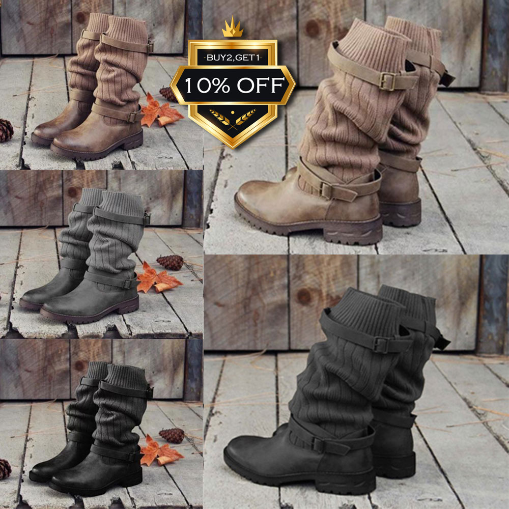 1130255f2de Details about NEW Women's Mid Calf Boots Buckle Sweater Knit Ladies Flat  Leather Winter Casual
