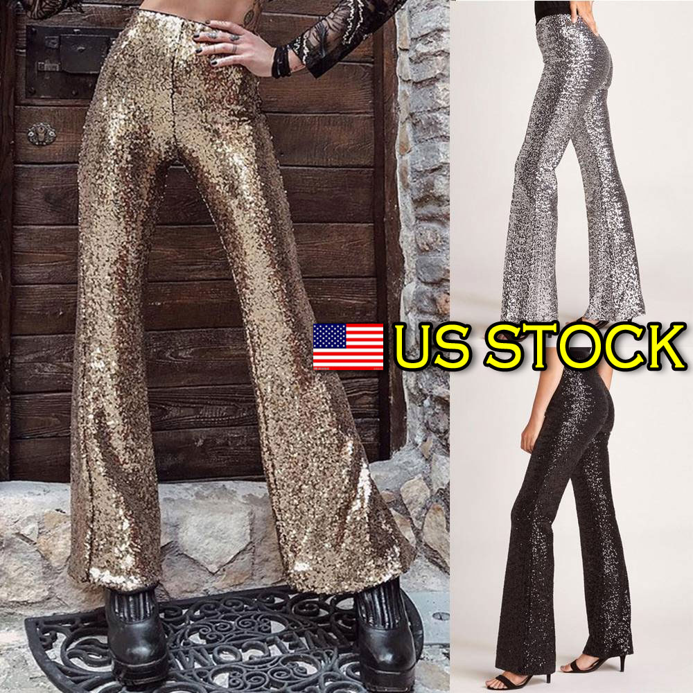 03dbebfc35 Details about Sequin Wide Leg Pants High Waist Party Sparkly Silver US  Womens Ladies Trousers
