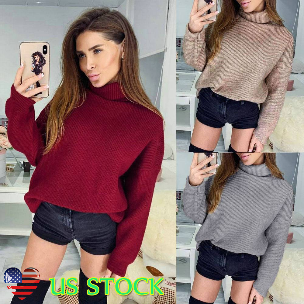 9490b2694ea Details about Turtleneck Knit Sweater Long Sleeve Jumper Winter Fall Women  Loose Pullover Tops